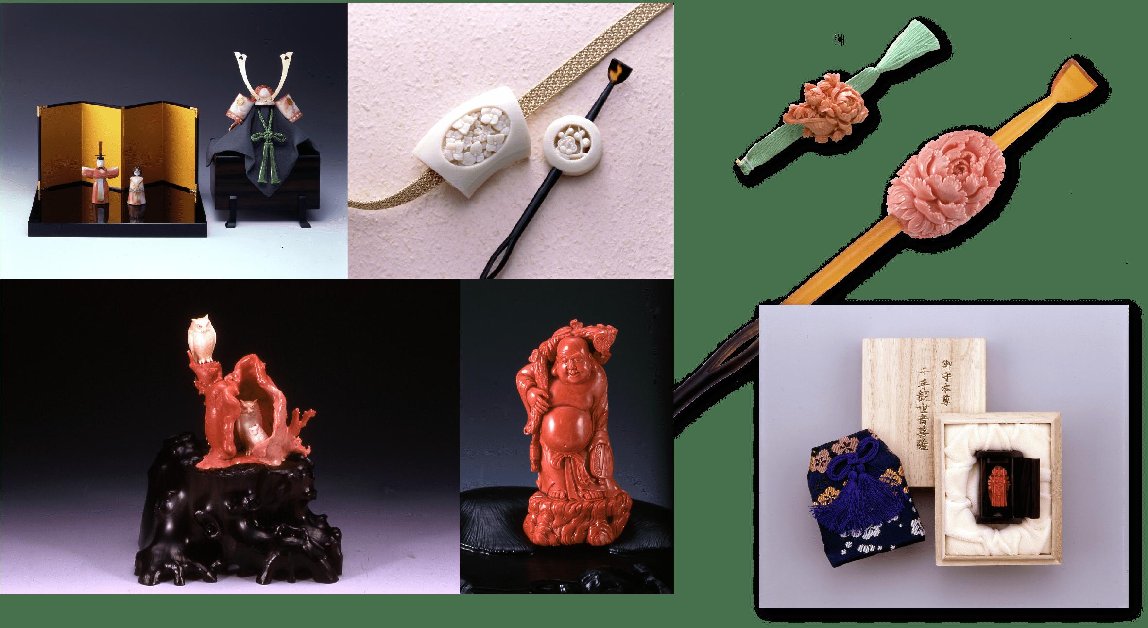 宝石珊瑚の美術工芸品